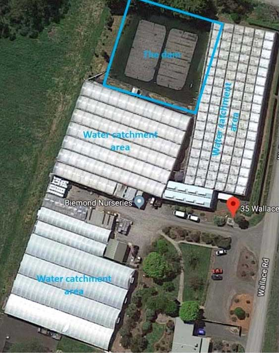 water catchment at Beimond Plant Nursery, Seville, Victoria
